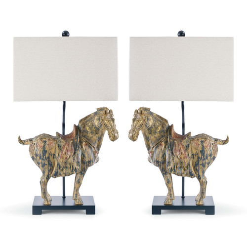 Dynasty Horse Table Lamps Pair