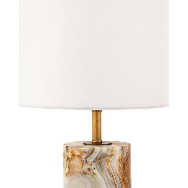 Jade & Brass Mini Cylinder Lamp