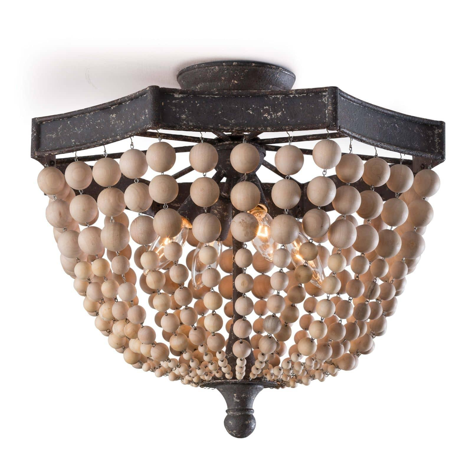 Wood Beaded Semi Flush Mount Regina Andrew