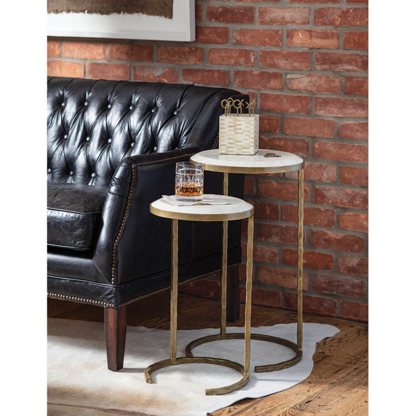 Bone Veneer Nesting Table (Brass)