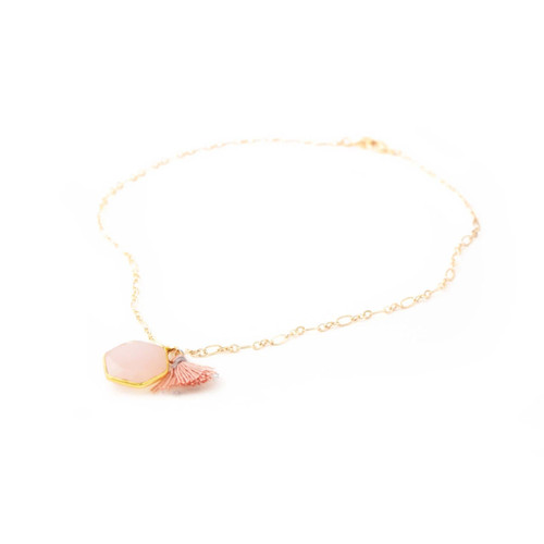 Lucille Necklace Pink Calcy (Gold)