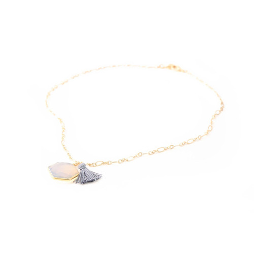 Lucille Necklace Opal (Gold)
