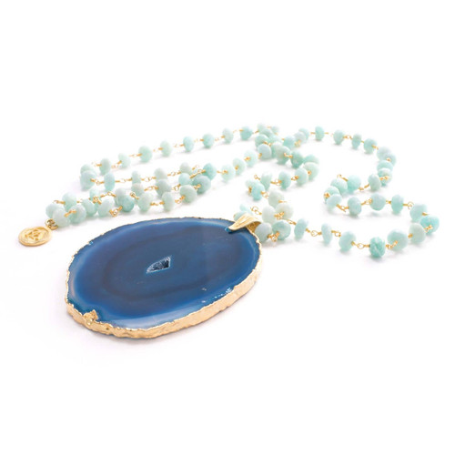 Faith Necklace Amazonite Turqiouse Agate (Gold)