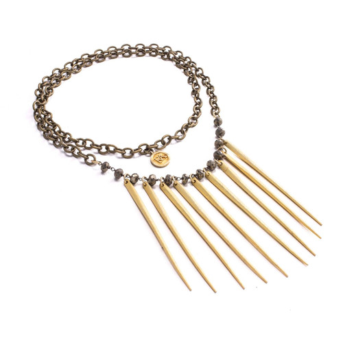 Lita Necklace Brass Spiked Chain (Antique Brass)
