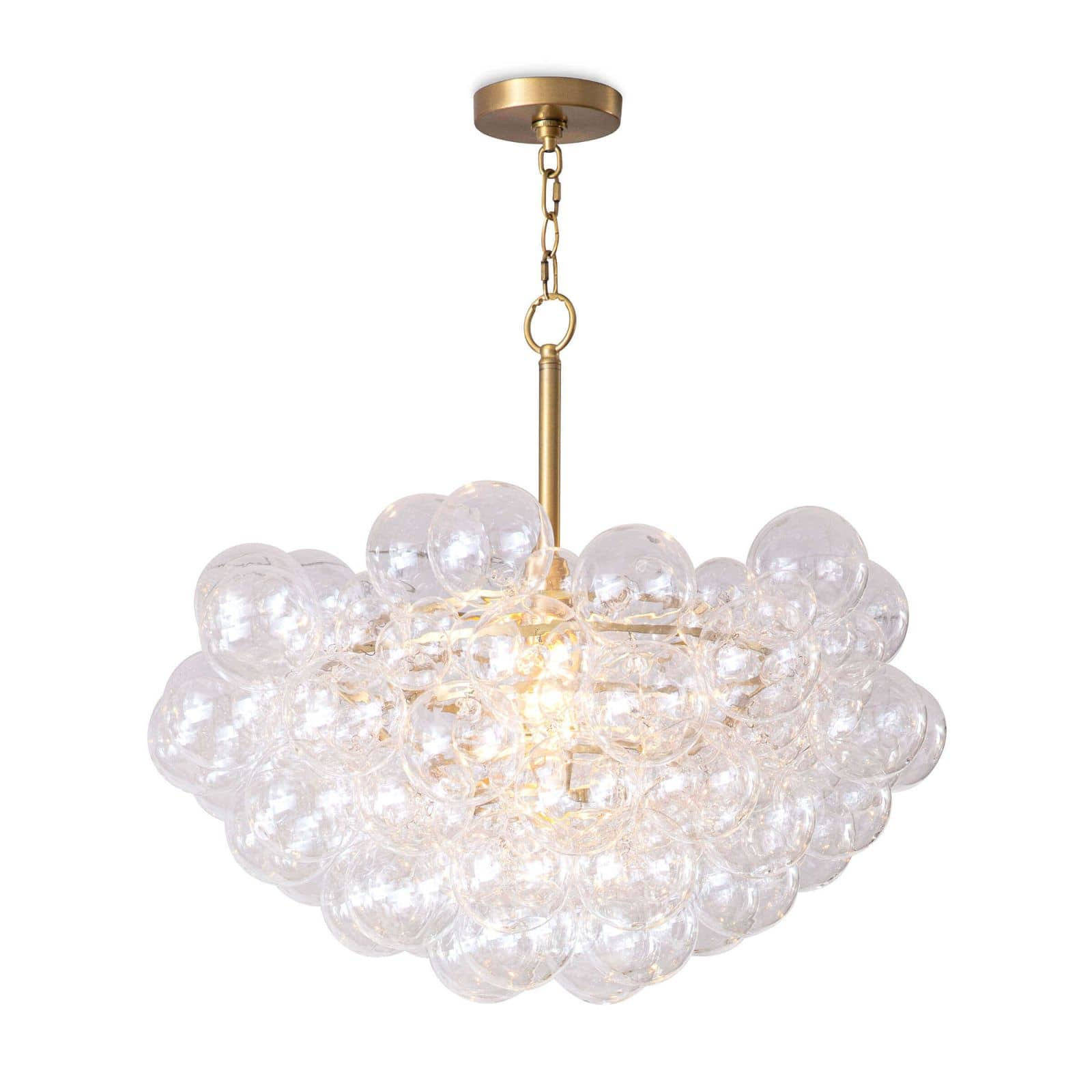 Bubbles Chandelier (Clear) Natural Brass